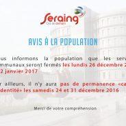 Attention : fermeture des services communaux les lundis 26 décembre et 2 janvier