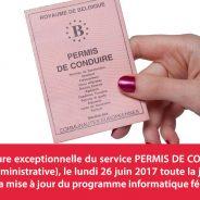 Fermeture exceptionnelle du service PERMIS DE CONDUIRE (Cité Administrative)
